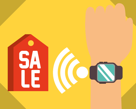 nfc payment technology hand with wristwatch sale vector illustration