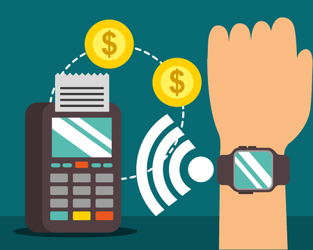 nfc payment technology hand with wristwatch signal coins dataphone vector illustration