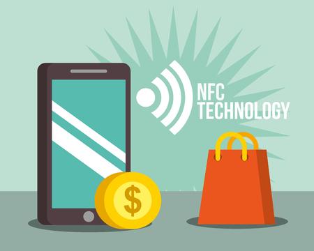nfc payment technology smartphone coin handbag vector illutration