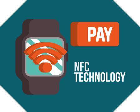 nfc payment technology wristwatch signal wifi pay vector illustration Ilustração