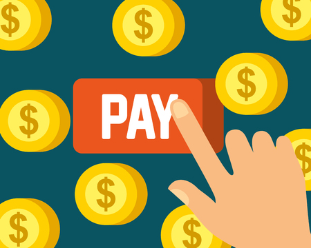 nfc payment technology coins background hand pointed sign pay vector illustration