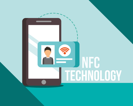 nfc payment technology smartphone credit personal card vector illustration