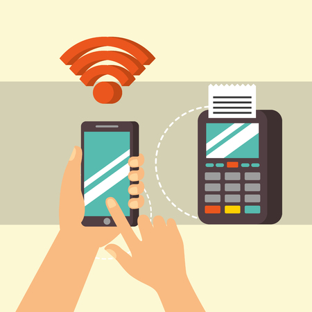 nfc payment technology hand holding smartphone dataphone pay vector illustration