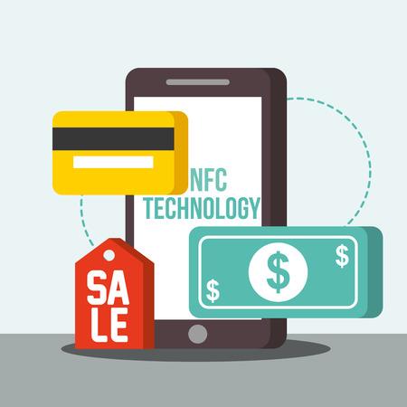 nfc payment technology credit card smartphone money sale vector illustration Illustration