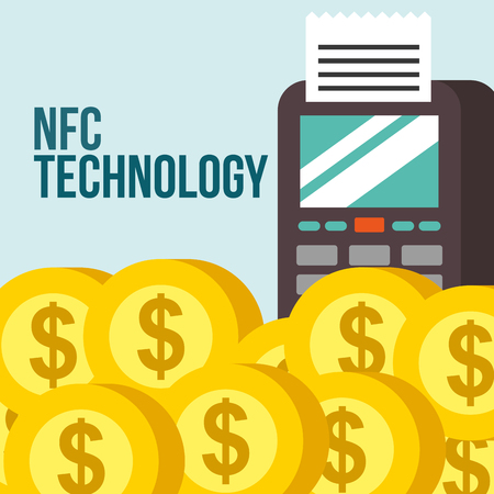 nfc payment technology coins money dataphone vector illustration