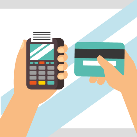 nfc payment technology hands holding dataphone credit card vector illustration