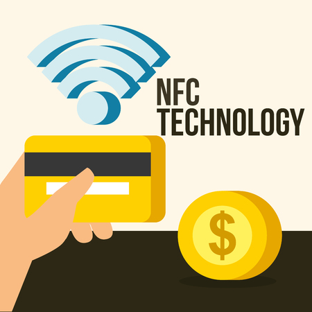 nfc payment technology hand holding credit card coin signal vector illustration Ilustração