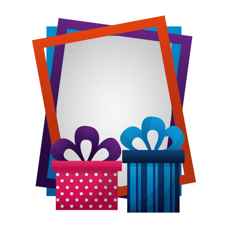 gifts boxes present with frame isolated icon vector illustration design Illustration