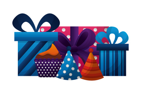 gifts boxes present with hats party and cupcake icon vector illustration design  イラスト・ベクター素材