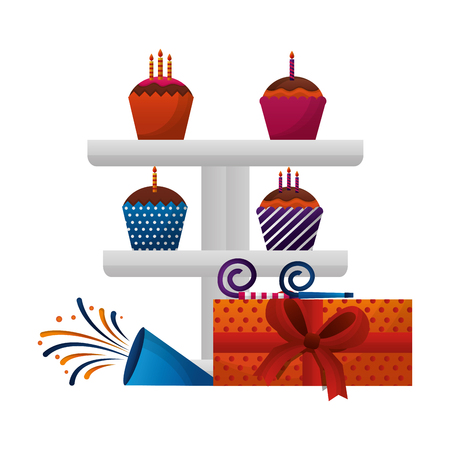 set sweet cupcakes with gift box present and party whistle icon vector illustration design Çizim