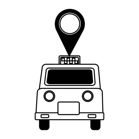 london taxi with pin location vector illustration design