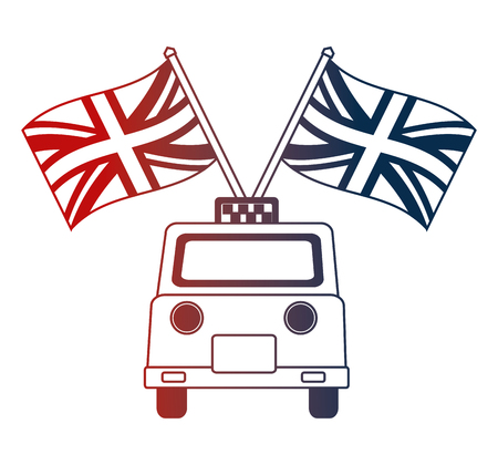 taxi service with english flags vector illustration