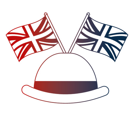 bowler hat elegance english flags vector illustration