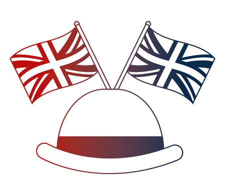 bowler hat elegance english flags vector illustration