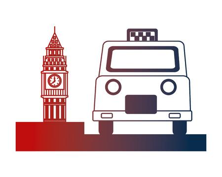 english taxi service and big ben symbol vector illustration Archivio Fotografico - 114727934