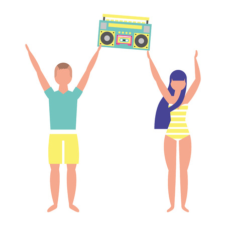 couple in swimsuit holding stereo boombox radio vector illustration Illustration