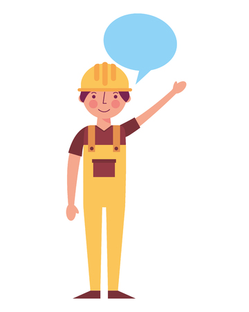 worker contruction in yellow overalls speech bubble vector illustration
