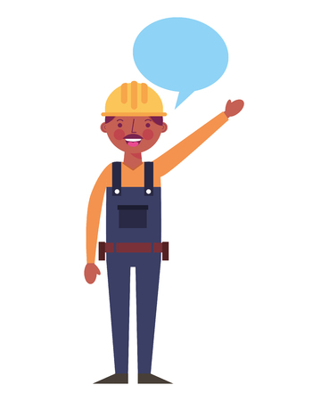 construction man worker with helmet and overalls speech bubble vector illustration Illustration