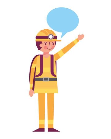 man miner in helmet and equipment speech bubble vector illustration