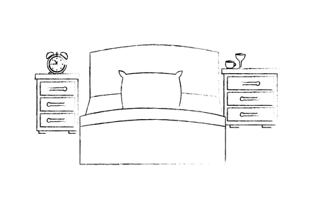 bed with drawer and alarm clock vector illustration design