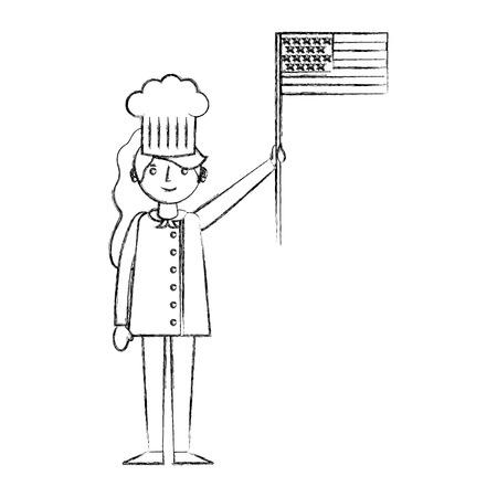 chef woman female character with hat holding american flag labor day vector illustration sketch