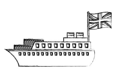 ship boat with flag of great britain vector illustration design Imagens - 105388400