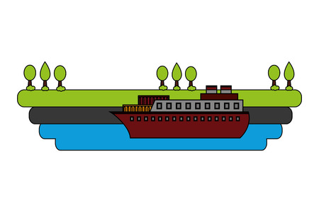ship boat in sea with landscape vector illustration design