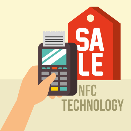 nfc payment technology hand holding dataphone checking sale sign vector illustration Imagens - 105361725
