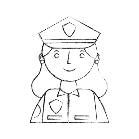woman police officer in uniform character portrait vector illustration sketch