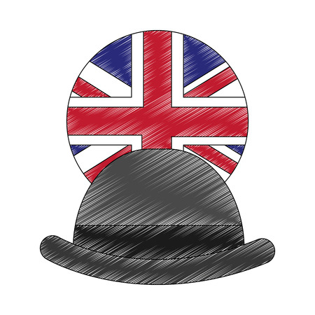 gentleman hat with emblem of flag great britain vector illustration design Stock Photo