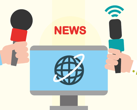 news communication computer world screen hands holding microphone interview vector illustration Stockfoto