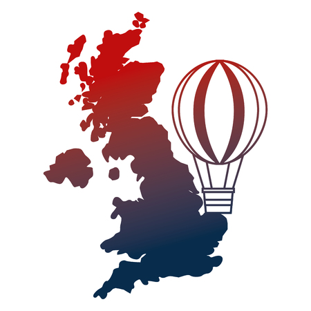 united kingdom map hot air balloon vector illustration