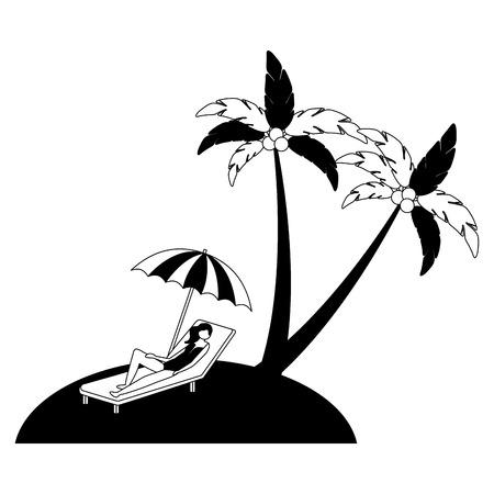 woman on deck chair umbrella beach palm vector illustration black and white 版權商用圖片