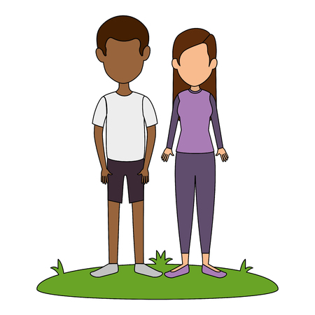 young couple in grass avatars characters vector illustration design