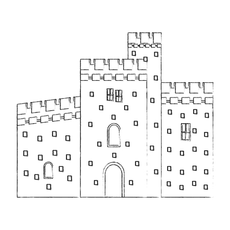 antique castle isolated icon vector illustration design