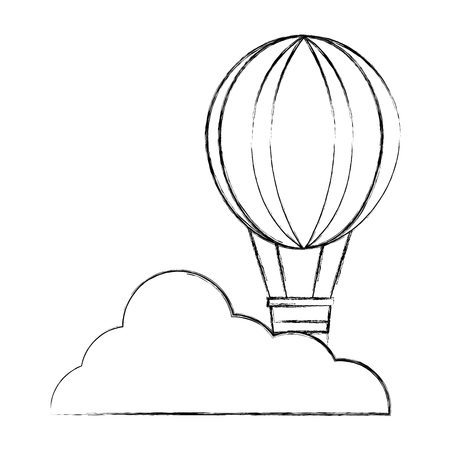 balloon air hot flying with cloud vector illustration design