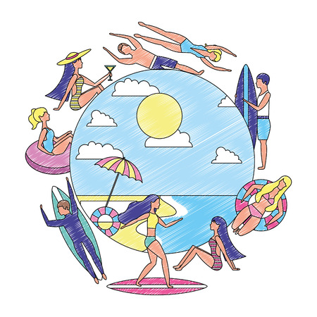 people summertime vacation surf float relax vector illustration drawing