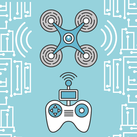 drone and controller devices technology futuristic Illustration