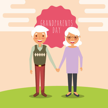 grandparents day cute old couple holding hands in the field label sign vector illustration