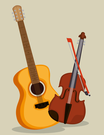 guitar and violin instruments vector illustration design Çizim