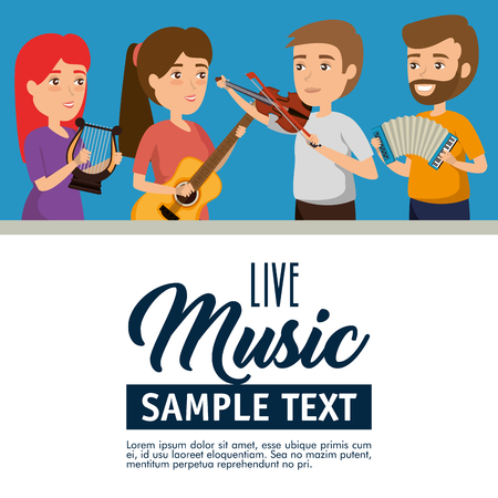 group of persons in concert vector illustration design Banque d'images - 114876817