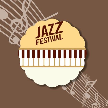 jazz festival instruments music notes label piano keys sign vector illustration
