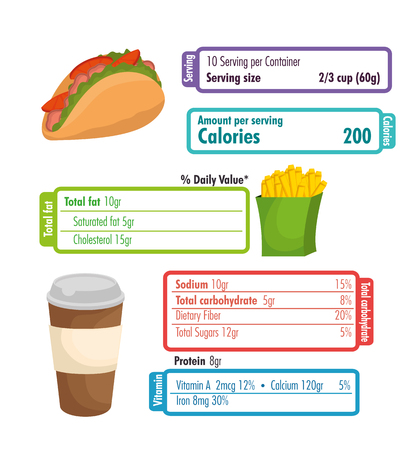 fast food with nutritional facts vector illustration design