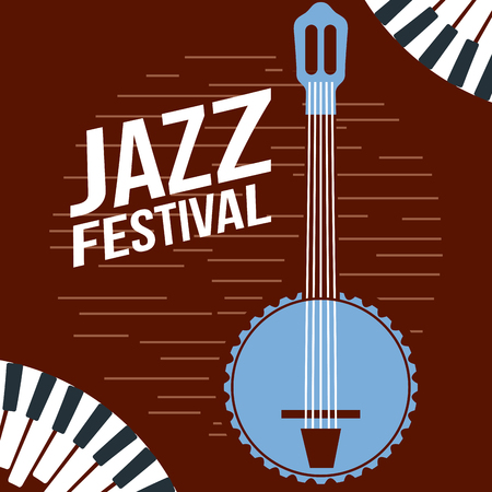 jazz festival banjo music piano play grungre style background vector illustration