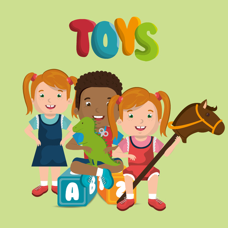 little kids playing with toys characters vector illustration design