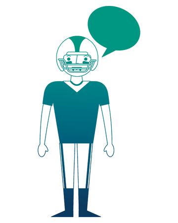 man player american football speech bubble vector illustration gradient design