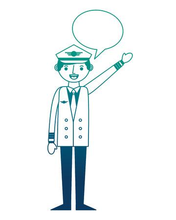commercial airplane pilot in uniform speech bubble vector illustration gradient design
