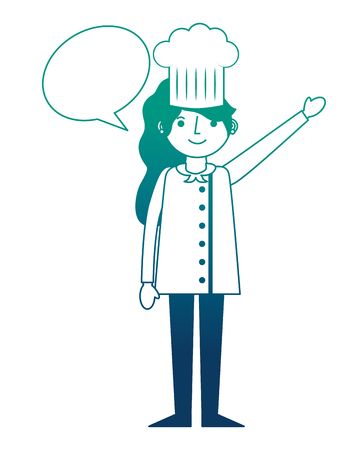 chef woman female character with hat speech bubble vector illustration gradient design Illustration