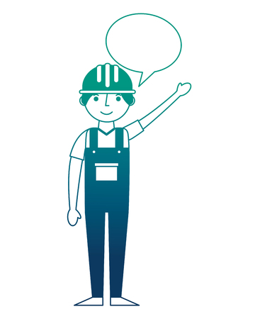 worker contruction in overalls speech bubble vector illustration gradient design Ilustração