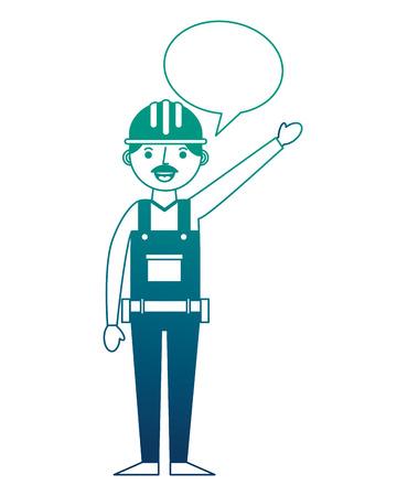 construction man worker with helmet and overalls speech bubble vector illustration gradient design